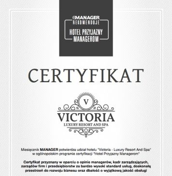 "Certyfikat ""Hotel dla Managera"""